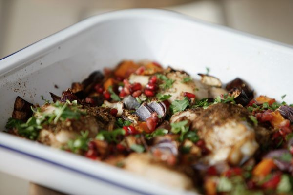 Chicken, aubergine and squash traybake